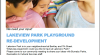 Please see the attached PDF about the upcoming meeting on November 7th in the Lakeview Library. Playground Redevelopment 8.5×11 Poster 2019